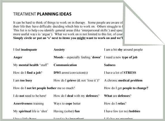 Mental Health Treatment Planning Ideas Worksheet Google