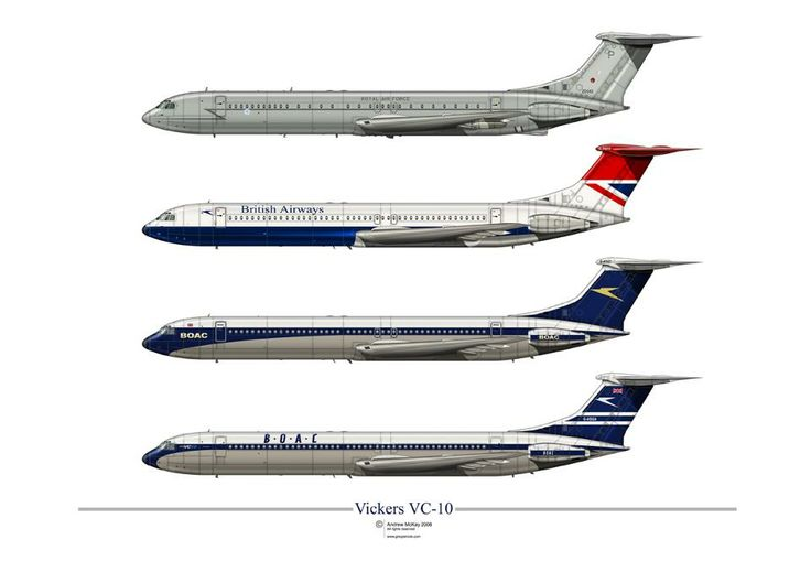 Vickers VC-10 In RAF and British Flag carrier livery