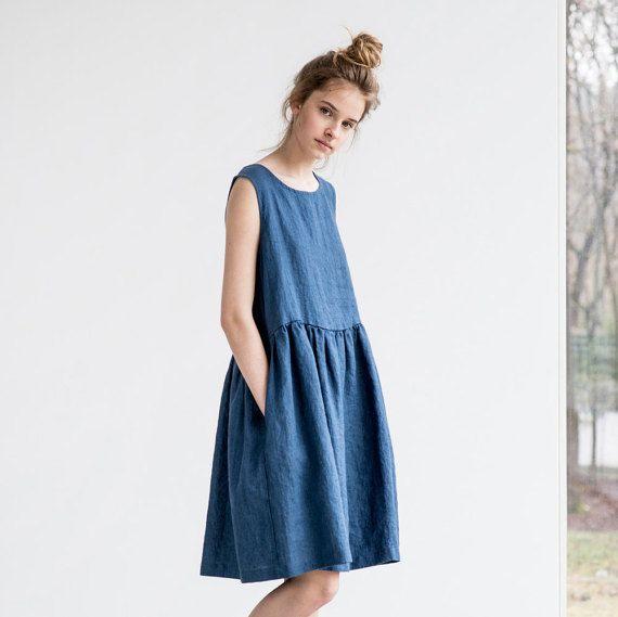 Loose linen sleeveless summer dress in denim color / Washed linen dress