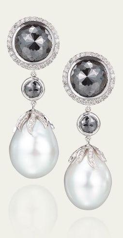 Tamsen Z by Ann Ziff - White Baroque Pearl & Black Diamond Earrings
