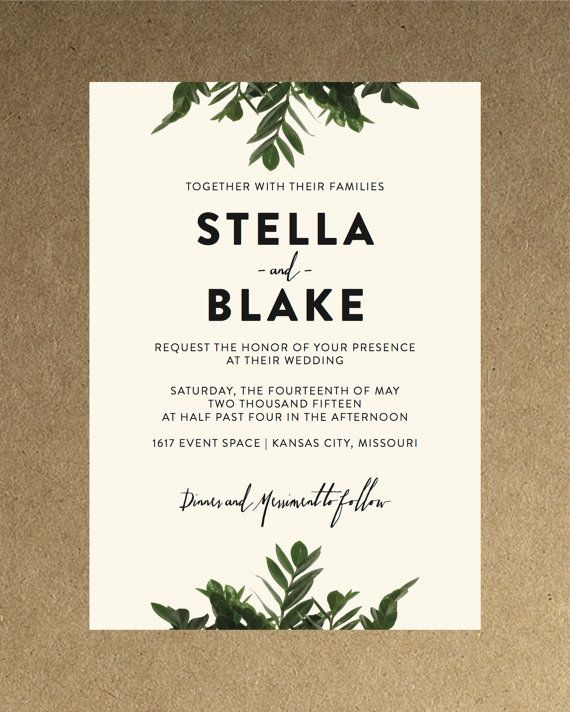 modern botanical greenery wedding invitation by blacklabstudio - Modern Wedding Invites