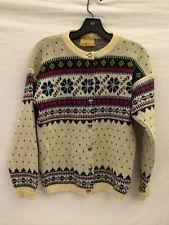 FIGGJO NORWAY Womans True Vintage 100% Wool Cardigan Sweater Size S-M