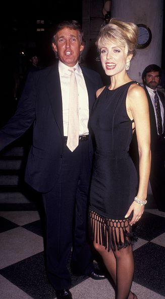 Donald Trump and Marla Maples attend Will Rogers Follies Press Conference on August 3 1992 at the Plaza Hotel in New York City