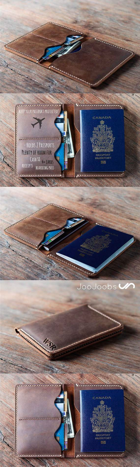 If you love to travel, your passport is #1 most important document you have to protect. The JooJoobs.com personalized handmade leather travel wallet is the perfect travel companion. Made from full grain distressed leather, this wallet will last you a life