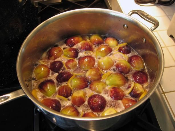 Fig Preserves from Food.com:   leave overnight in refrigerator in sterile container with sugar to make its own juice then bring to boil.  Sooo good on fresh biscuit!!