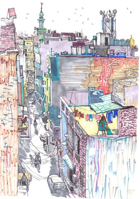 Urban Sketchers: Delhi from the rooftops