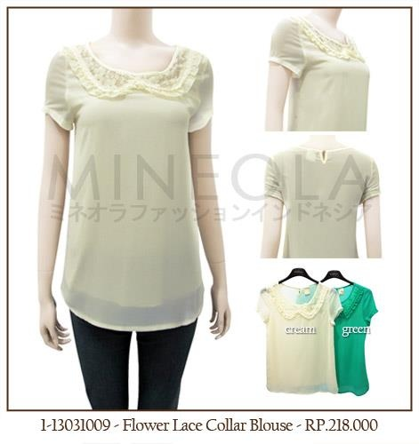 #MINEOLA Flower Lace Collar Blouse Cream color. Also available in green color. Get this comfortable blouse for only Rp.218.000,-   Fabrics: polyester Product code: 1-13031009 [Size S] Bust: 80cm - Length: 62cm... [Size M] Bust: 84cm - Length: 63cm