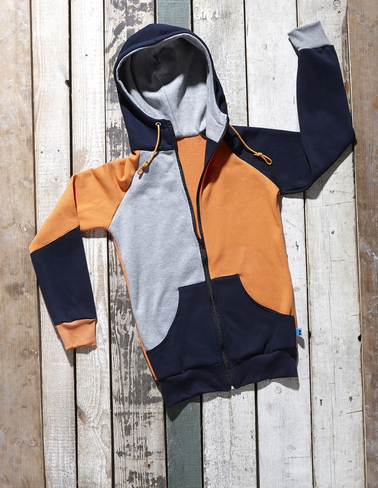 Orange, grey and blue Mantova zip hoodie by Bosis