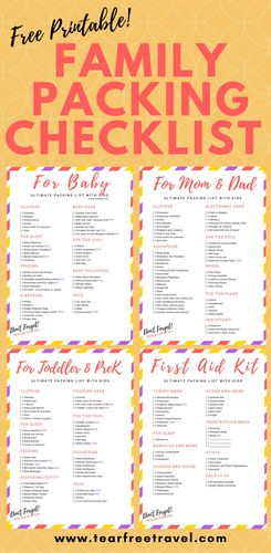 Looking for the ultimate family packing list? Check out all the must-haves in my baby packing list and toddler packing list. These FREE packing lists for kids don't leave anything behind. Use my packing checklists to keep you organized on vacation. The printable packing list for vacation that I use every time. I also include my travel first aid kit checklist AND a list of packing essentials for moms and dads! #printable #packing #packingtips #familyvacation #kidspacking