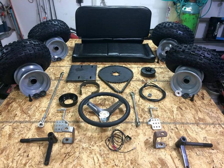 All the parts you will need to build a go kart at home from our plans.
