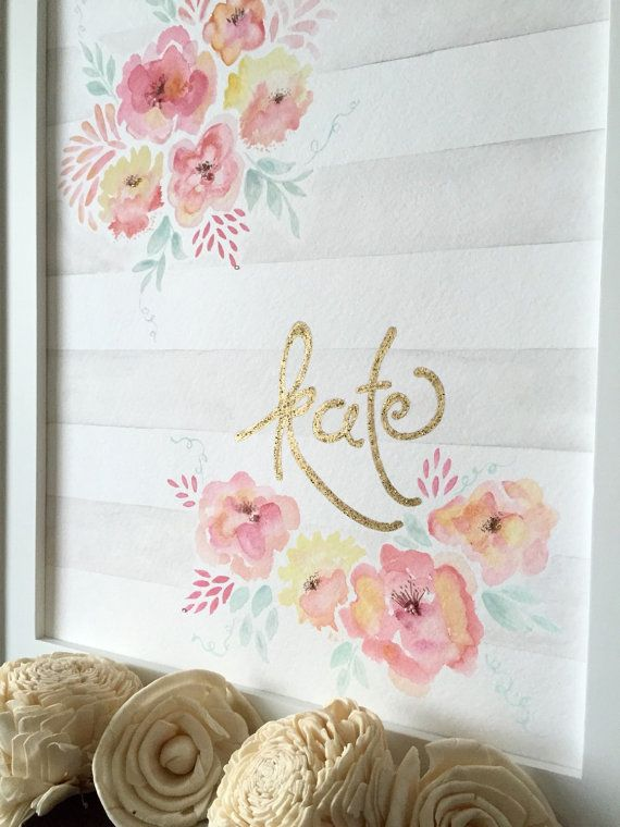 Flowers and Stripes Shabby Chic Garden Theme by ThePrintsAndThePea