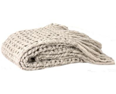 Chunky Wool Throw (Taupe)