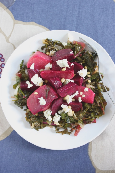 Cumin-dressed orzo pasta salad with honeyed beets, greens, and feta