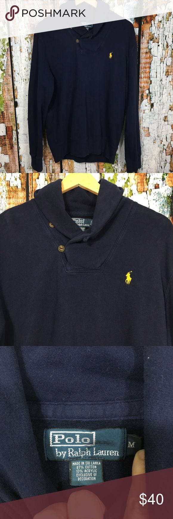 """Polo Navy Blue Shawl Collar Cowl Neck Sweatshirt Polo Ralph Lauren sweatshirt with button up cowl neck and embroidered pony on chest.  Armpit to arpmit: 23"""" Length: 27"""" Materials: 87% cotton, 13% acrylic Condition: preowned; very gently used Polo by Ralph Lauren Shirts Sweatshirts & Hoodies"""