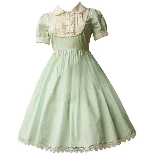 Partiss Women's Light Green Cotton Lolita Dress (4.150 RUB) ❤ liked on Polyvore featuring dresses, cotton dresses, green cotton dress, light green dress, cotton day dresses and green dress