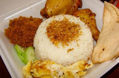 Uduk Rice is traditional food from Betawi (Jakarta). It is a kind of food which is made from rice and steamed with coconut milk, and spiced with nutmeg, cinnamon, ginger, lemongrass and pepper leaves.