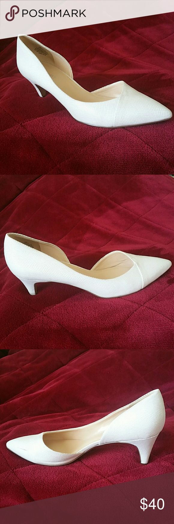 White Nine West heels Worn twice with a few small scuffs (pictured). Original box included (also pictured). Nine West Shoes Heels