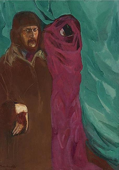 Борис Анисфельд. Автопортрет с карнавальной фигурой. 1910-1917 гг.