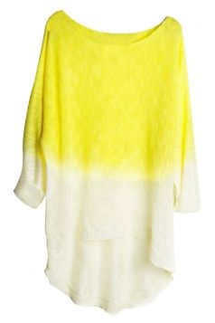 #Yellow Womens #Crew Neck #Batwing Sleeve Pattern #Pullover #Sweater