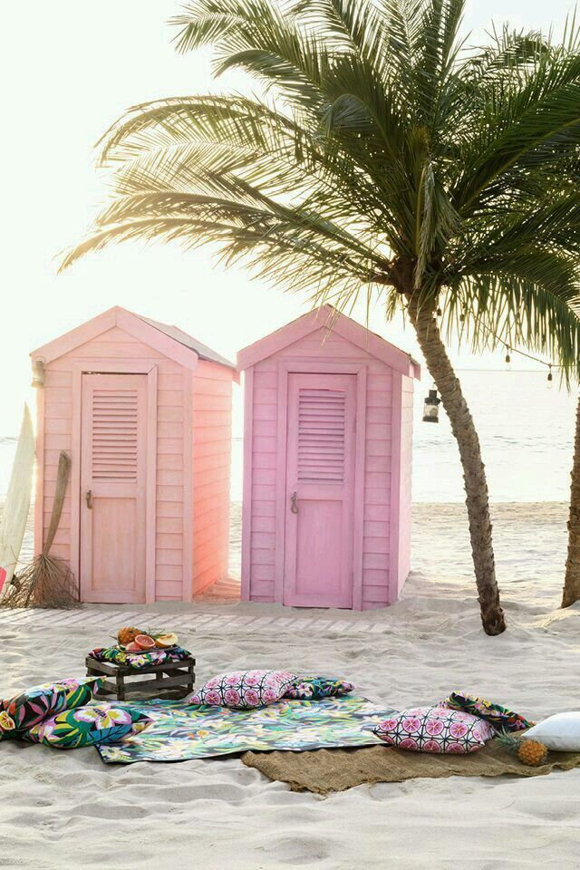 Pastel shacks on the beach