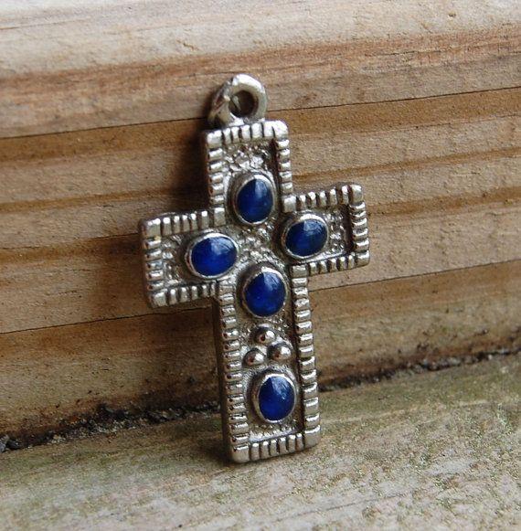 Silvertone Vintage Cross Pendant with Lapis by GiftbearerSupply, $15.00