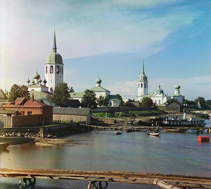 С. М. Прокудин-Горский. Вид на Новую Ладогу. 1909 год