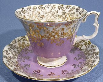 Royal Albert Purple Cascade Series Tea Cup and Saucer, Royal Albert Cascade, Half Purple Half White, Gold Overlay, Made in England 1960 - 70