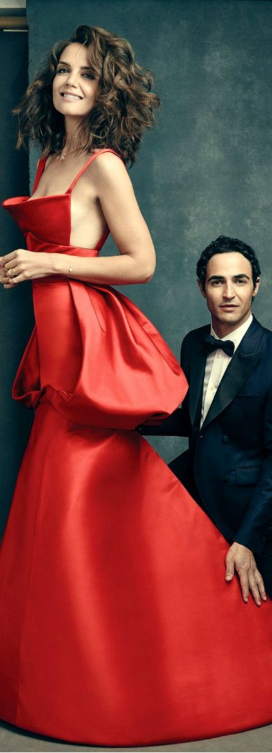 Zac Posen and Katie Holmes women fashion outfit clothing style apparel @roressclothes closet ideas