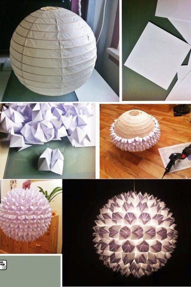 DIY lampe med papirspåer