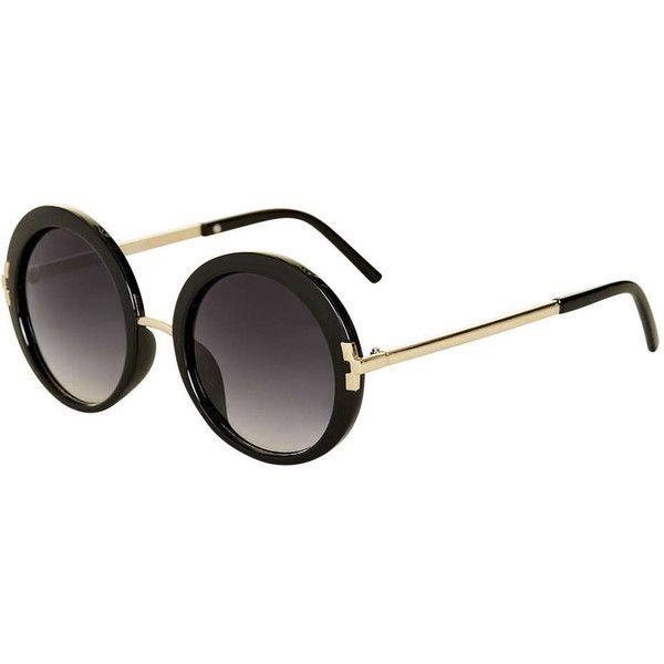 TOPSHOP Lakota '60s Round Sunglasses (€28) ❤ liked on Polyvore featuring accessories, eyewear, sunglasses, black, topshop, black glasses, oversized round sunglasses, oversized eyewear and round frame glasses