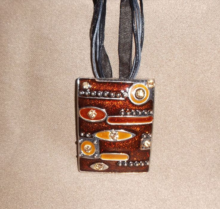 Chunky Retro Brown Rectangle Rhinestone Steampunk Inspired Pendant on Black Leather and Lace Chord Necklace - pinned by pin4etsy.com