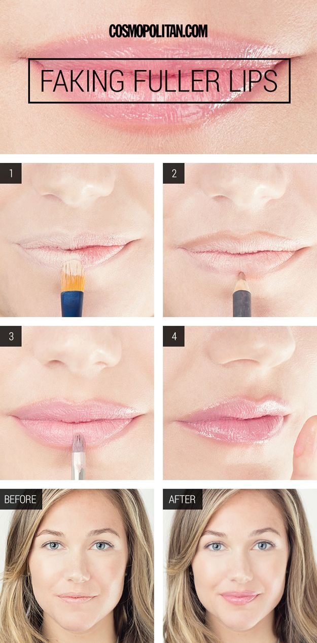 How to Fake Fuller Lips | Easy Makeup Hacks for Faking Bigger Lips by Makeup Tutorials at http://makeuptutorials.com/makeup-tutorials-beauty-tips