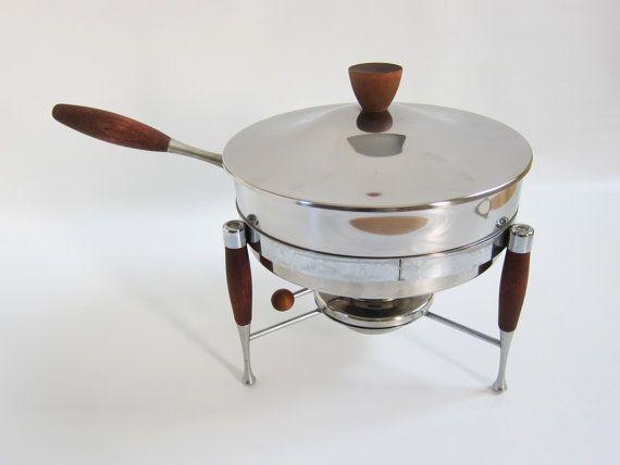 Mid Century Modern Chafing Dish Warmer by RedStaplerVintage