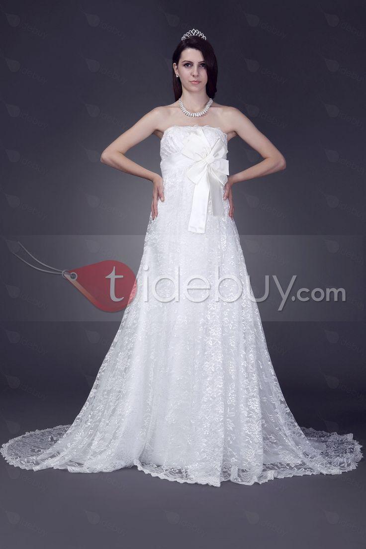 綺麗なエンパイア袖なし床まで長さコートレースウェディングドレス