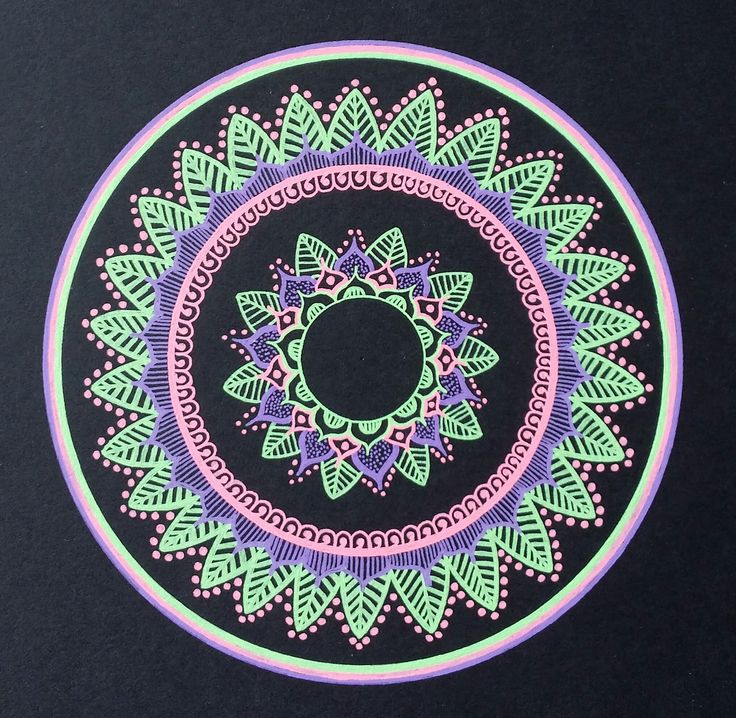 - Purple/Light green/Pink mandala - Drawn freehand - Gellyroll Moonlight pens from Sakura