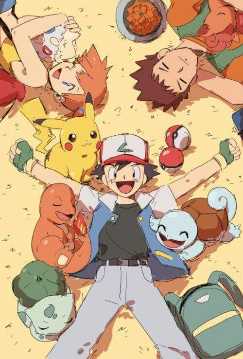 Pokemon trainer Ash,Brock and Misty
