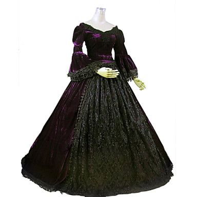 One-Piece Gothic Lolita Steampunk@/Victorian Cosplay Lolita Dress Purple Solid Long Sleeve Long Length Dress For Women Marie Ball Gown Period Dress 4328303 2016 – $119.99