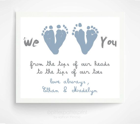Father's Day Gift from Twins - Personalized Gift for New Dad - We Love You Baby Footprint Art - Gift for Grandpa, Grandfather