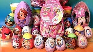 Смотреть онлайн видео Giant Princess Kinder Surprise Eggs Disney Frozen Elsa Anna Minnie Mickey Play-Doh Huevos Sorpresa