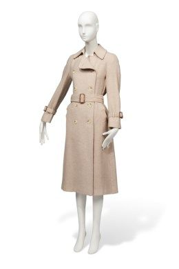 AN OATMEAL WOOL TRENCH COAT
