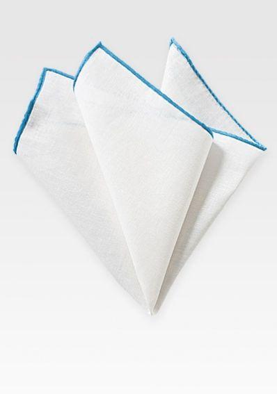 Einstecktuch naturweißes Leinen türkisblauer Rand
