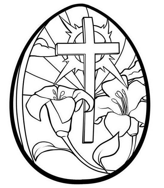 easter cross and flowers in egg pictures to colour draw to color and print