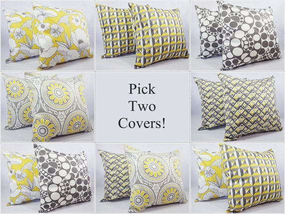mix and match yellow and grey throw pillow by