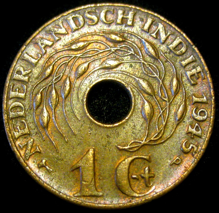 1945 Bronze cent, Netherlands East Indies -- now known as Indonesia.