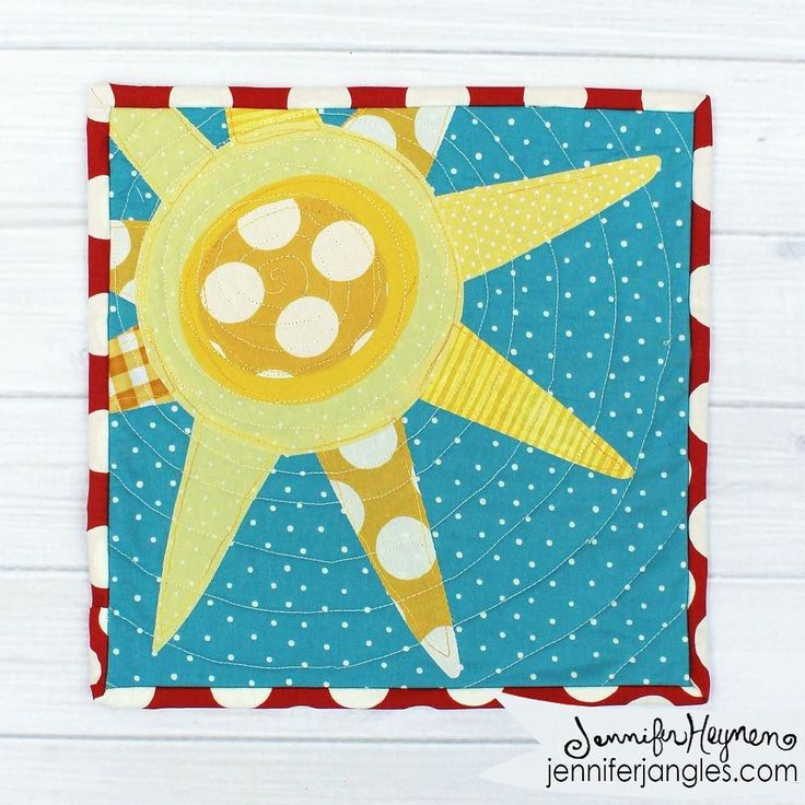 Sew Can She is giving away a free mini quilt pattern every month this year. Caroline asked me to design their April mini. I choose some of the dots from my Search and See Fabric line to create this sunshine.  . . . . . . . #helloimhandmade  #mycreativebiz #doitfortheprocess #calledtobecreative #makersmovement #makersgonnamake #creativehappylife #createeveryday  #handmadeloves #makersvillage #jenniferjangles  #diypatterns #diy #sewingpatterns #freepatterns #sewing  #patterndesigner…