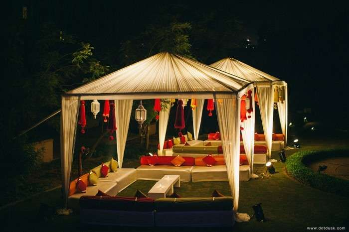 Could go for tents in a different shape and colour and feature mood lighting at night.