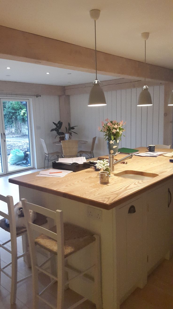 New kitchen in newly built douglas fir home in Kent, by Roderick James Architects.