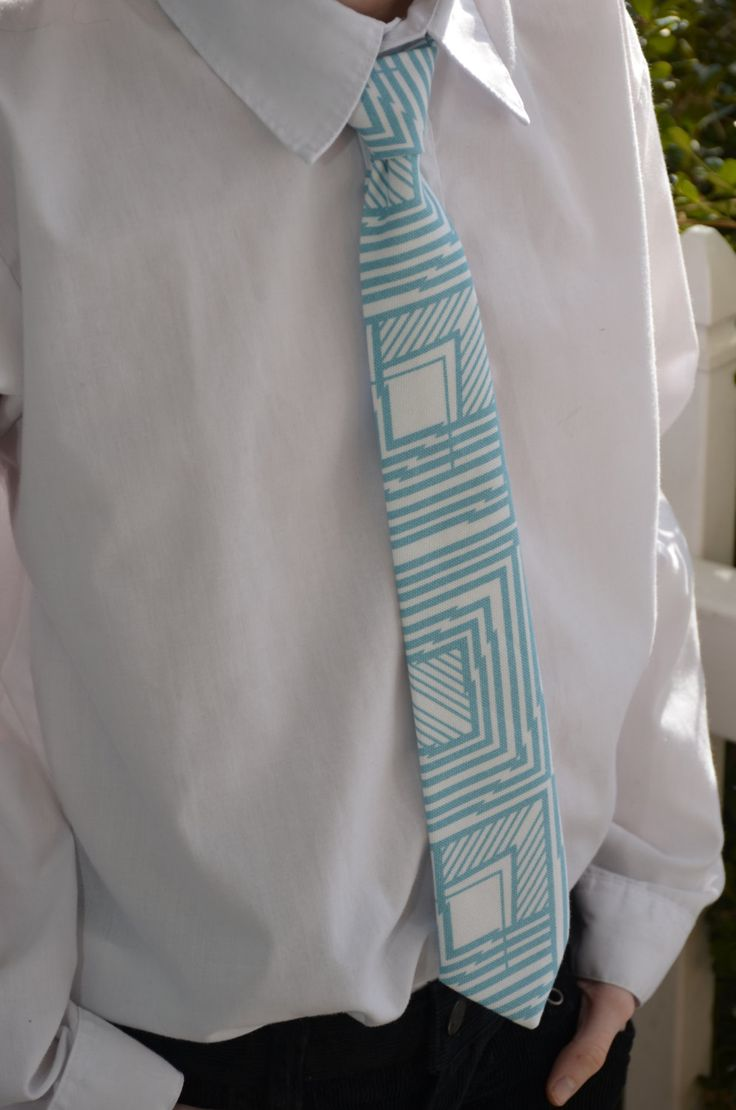Boys Teal and Cream Neck Tie by sewsocutie on Etsy