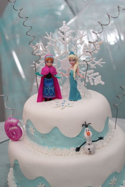 Lovely cake at a Disney Frozen Birthday Party!  See more party ideas at CatchMyParty.com!