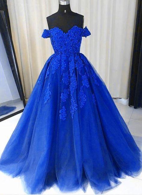 Vestido de tule azul royal, apliques de renda fora do ombro vestido de festa, vestido de baile 2018   – Kleider lang